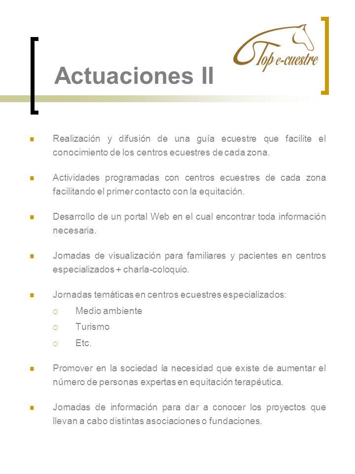 Actuaciones II Realización y difusión de una guía ecuestre que facilite el conocimiento de los centros ecuestres de cada zona.