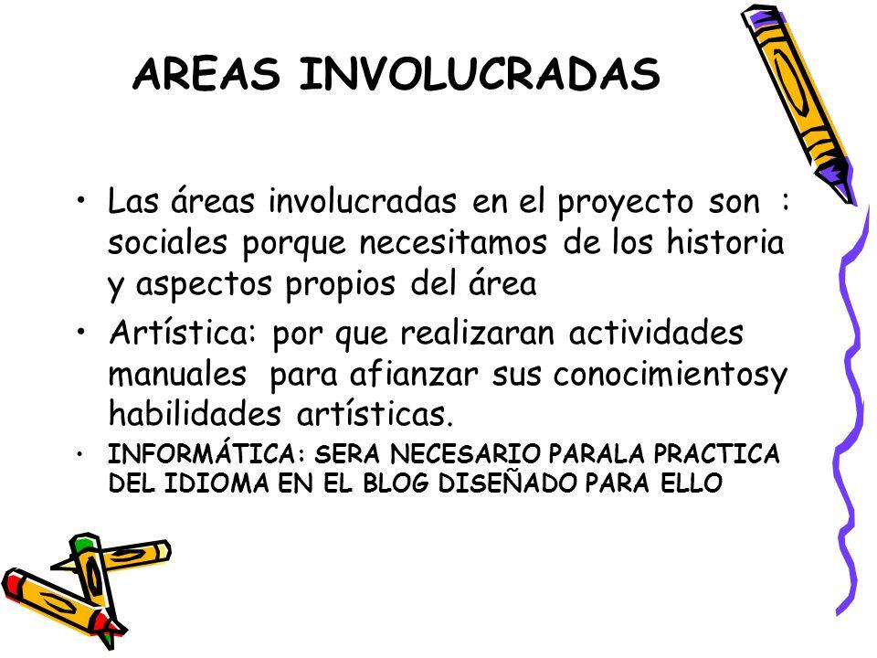 AREAS INVOLUCRADAS Las áreas involucradas en el proyecto son : sociales porque necesitamos de los historia y aspectos propios del área.