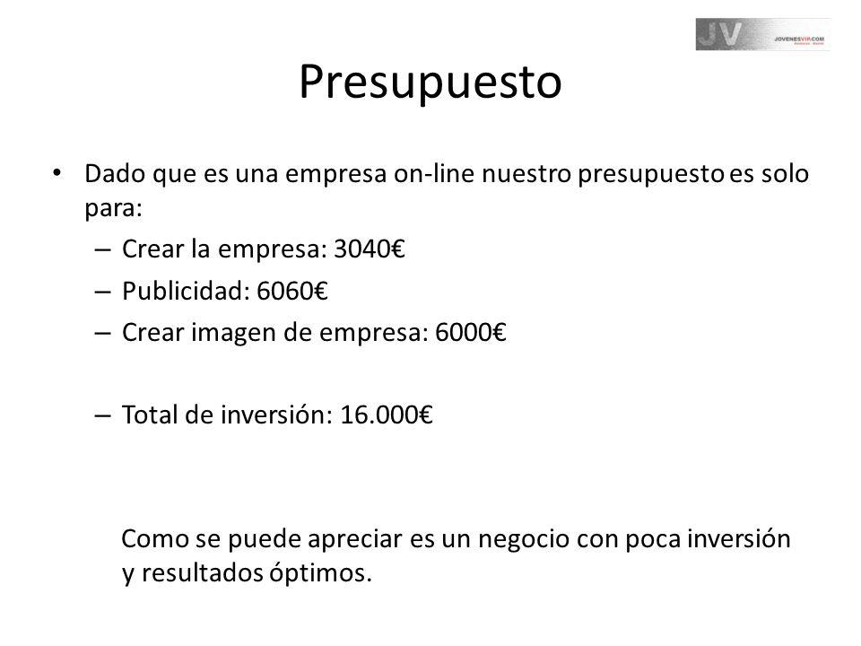 Presupuesto Dado que es una empresa on-line nuestro presupuesto es solo para: Crear la empresa: 3040€