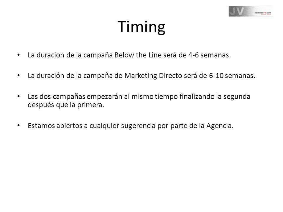 Timing La duracion de la campaña Below the Line será de 4-6 semanas.