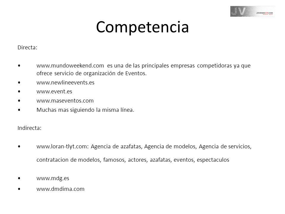 Competencia Directa: www.mundoweekend.com es una de las principales empresas competidoras ya que ofrece servicio de organización de Eventos.