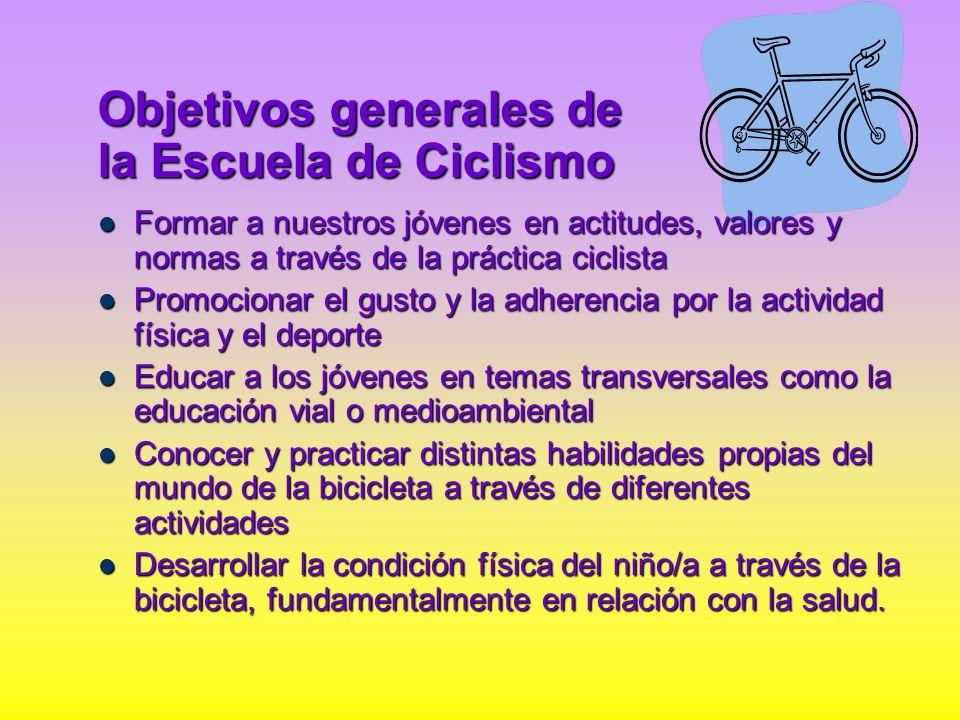 Objetivos generales de la Escuela de Ciclismo