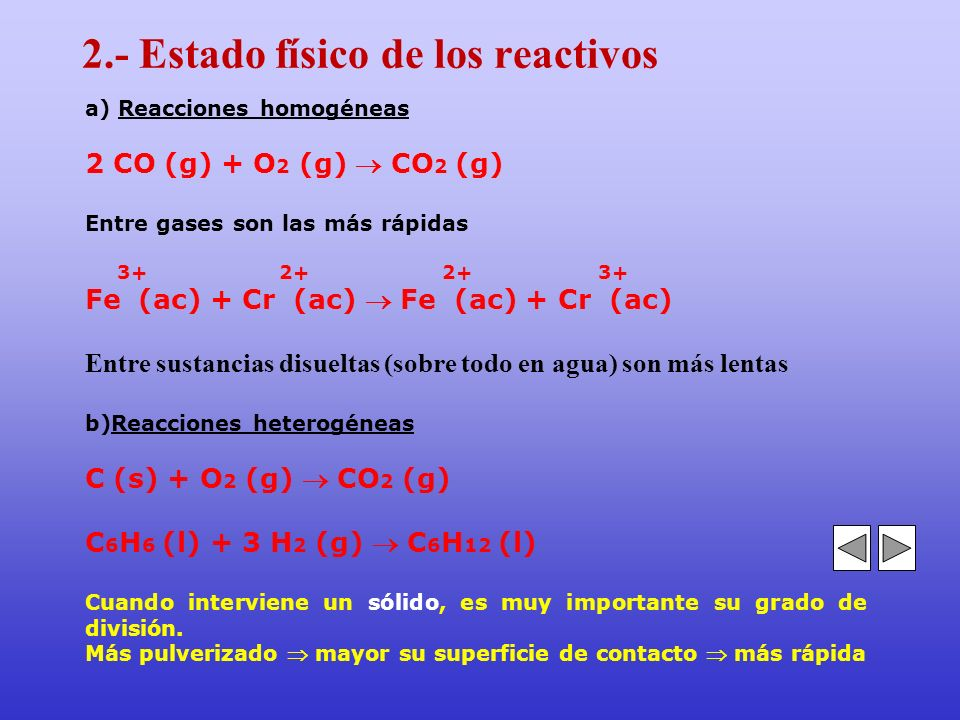 2.- Estado físico de los reactivos