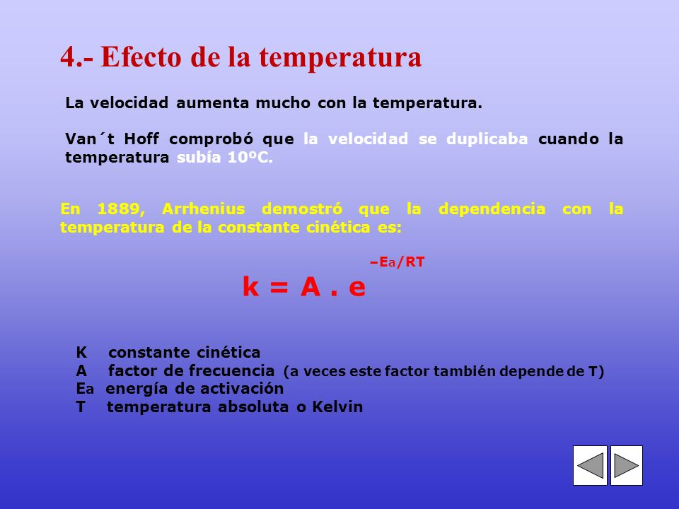 4.- Efecto de la temperatura
