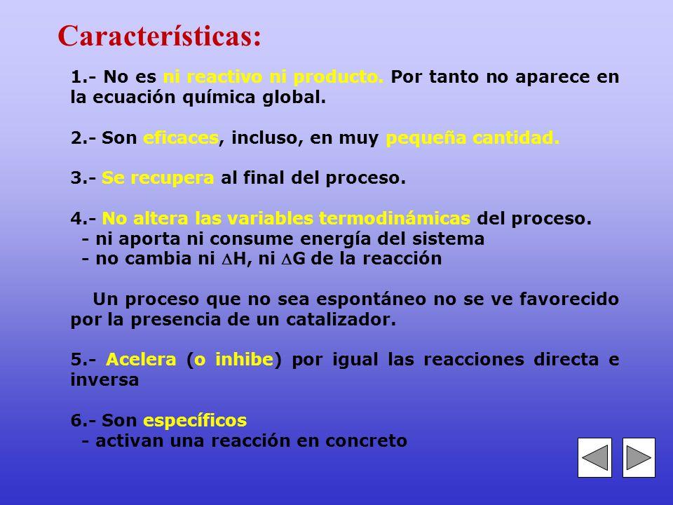 Características: 1.- No es ni reactivo ni producto. Por tanto no aparece en la ecuación química global.