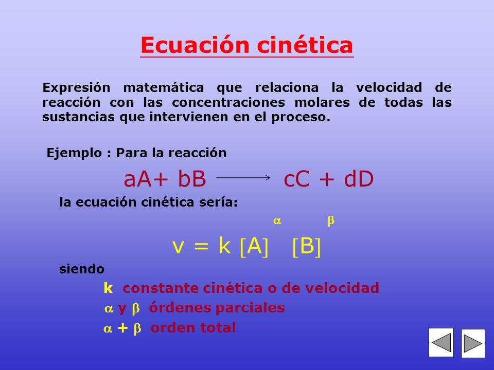 Ecuación cinética v = k A B k constante cinética o de velocidad