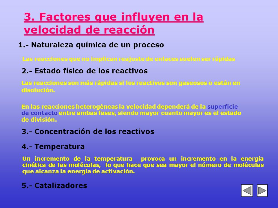 3. Factores que influyen en la velocidad de reacción