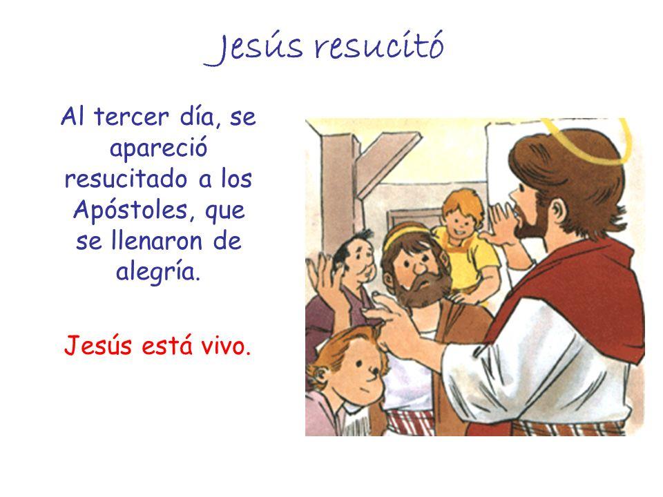 Jesús resucitó Al tercer día, se apareció resucitado a los Apóstoles, que se llenaron de alegría.