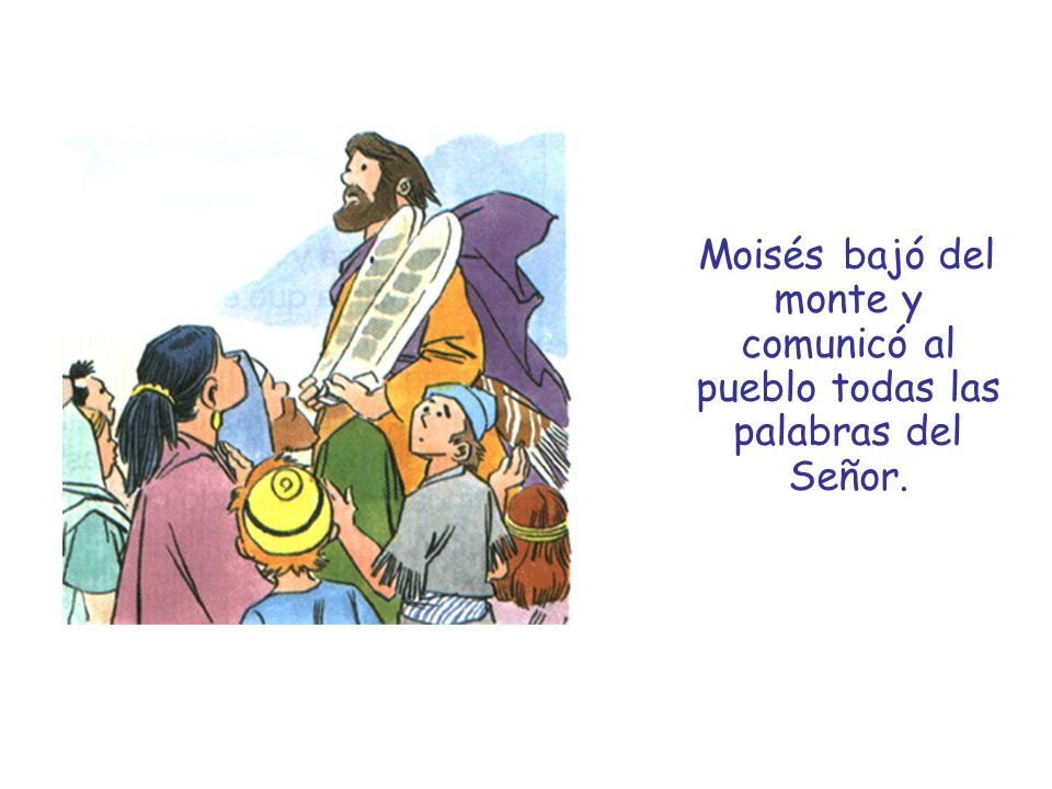 Moisés bajó del monte y comunicó al pueblo todas las palabras del Señor.