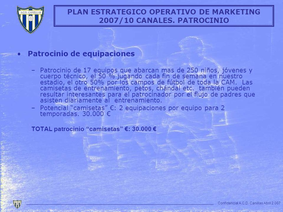 PLAN ESTRATEGICO OPERATIVO DE MARKETING 2007/10 CANALES. PATROCINIO
