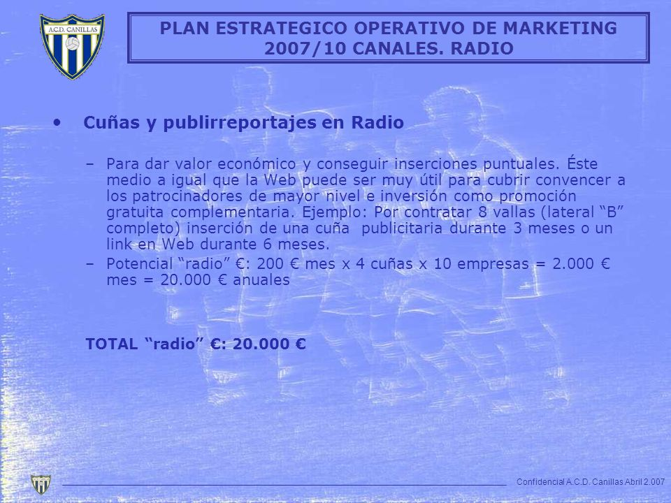 PLAN ESTRATEGICO OPERATIVO DE MARKETING 2007/10 CANALES. RADIO