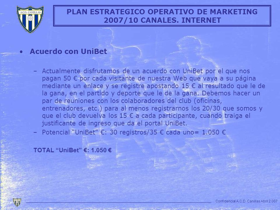 PLAN ESTRATEGICO OPERATIVO DE MARKETING 2007/10 CANALES. INTERNET