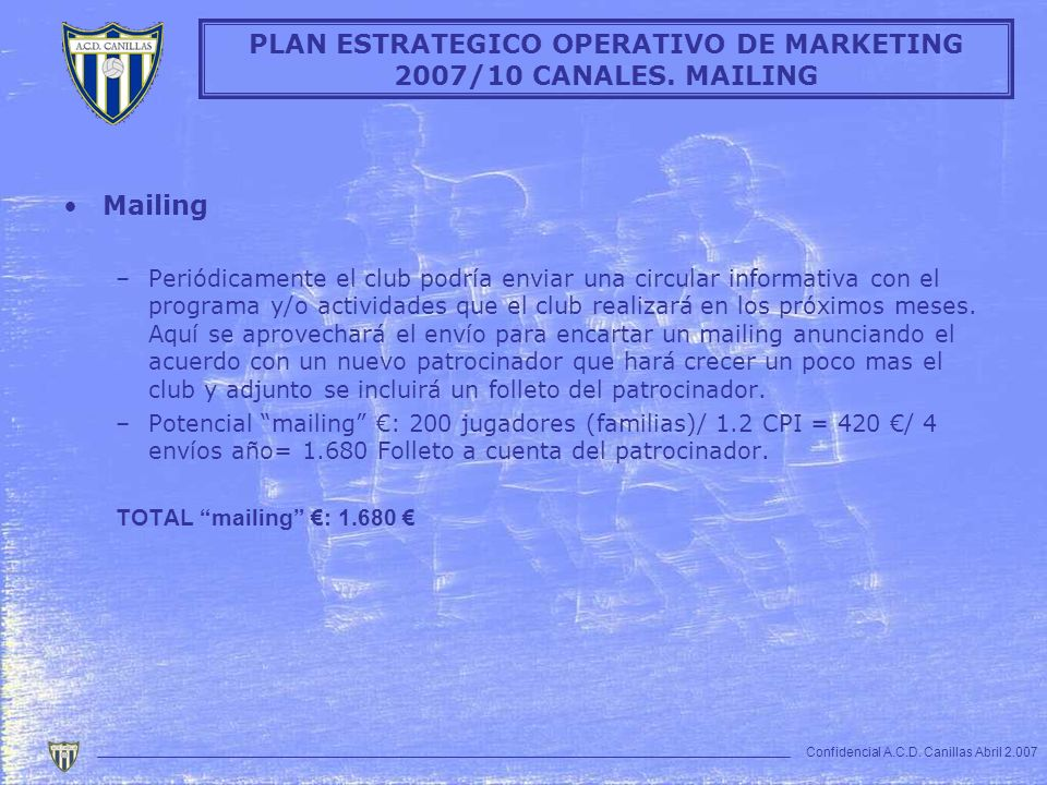 PLAN ESTRATEGICO OPERATIVO DE MARKETING 2007/10 CANALES. MAILING