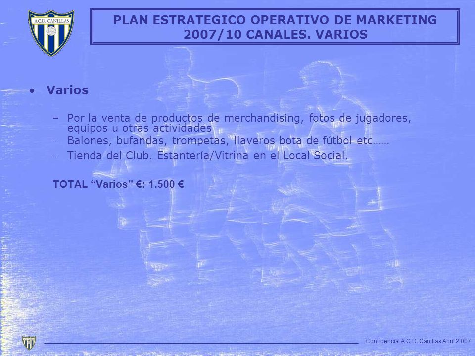 PLAN ESTRATEGICO OPERATIVO DE MARKETING 2007/10 CANALES. VARIOS