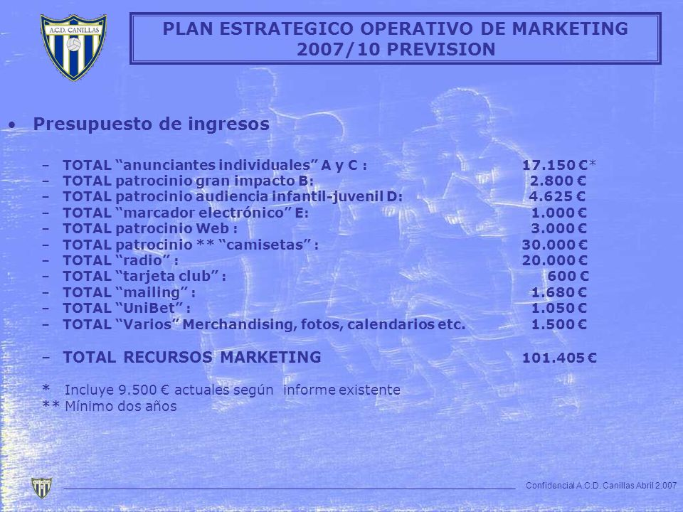 PLAN ESTRATEGICO OPERATIVO DE MARKETING 2007/10 PREVISION