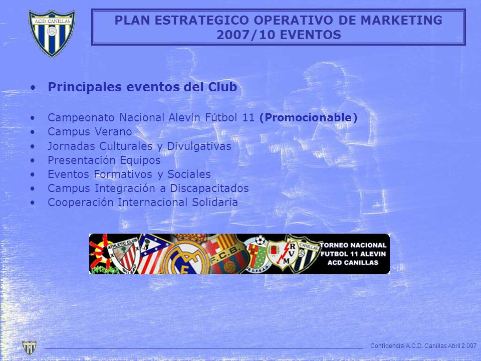 PLAN ESTRATEGICO OPERATIVO DE MARKETING 2007/10 EVENTOS
