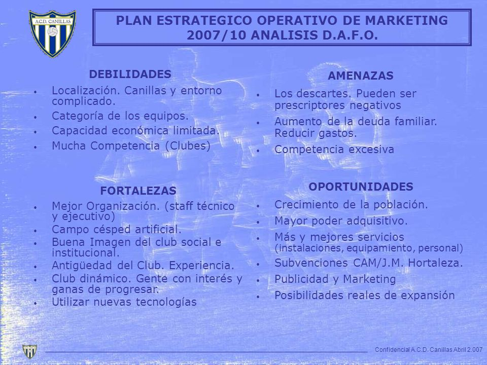 PLAN ESTRATEGICO OPERATIVO DE MARKETING 2007/10 ANALISIS D.A.F.O.