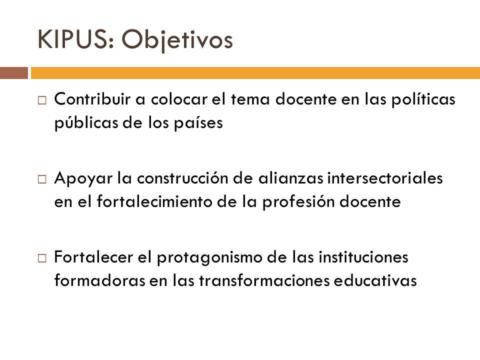 KIPUS: Objetivos Contribuir a colocar el tema docente en las políticas públicas de los países.
