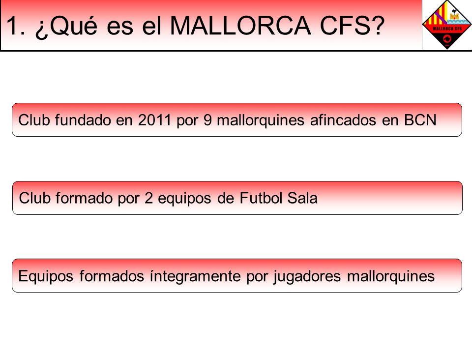 1. ¿Qué es el MALLORCA CFS Club fundado en 2011 por 9 mallorquines afincados en BCN. Club formado por 2 equipos de Futbol Sala.
