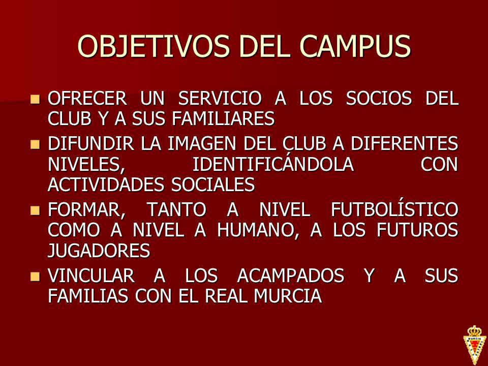 OBJETIVOS DEL CAMPUSOFRECER UN SERVICIO A LOS SOCIOS DEL CLUB Y A SUS FAMILIARES.