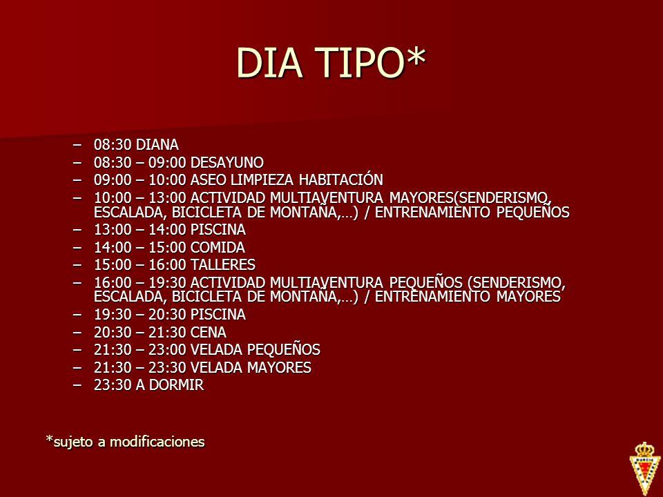 DIA TIPO* 08:30 DIANA 08:30 – 09:00 DESAYUNO