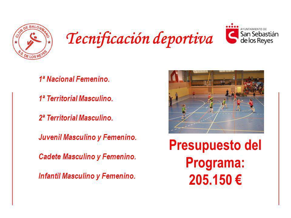 Tecnificación deportiva Presupuesto del Programa: