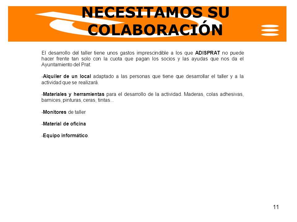 NECESITAMOS SU COLABORACIÓN