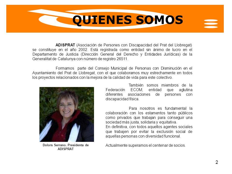 Dolors Serrano. Presidenta de ADISPRAT