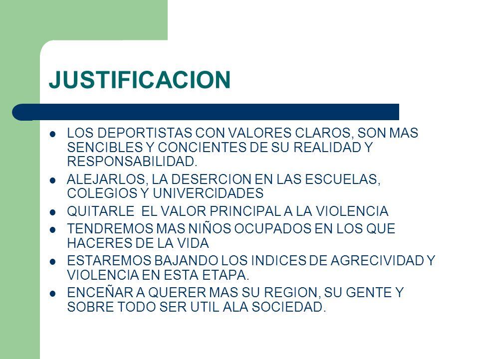 JUSTIFICACIONLOS DEPORTISTAS CON VALORES CLAROS, SON MAS SENCIBLES Y CONCIENTES DE SU REALIDAD Y RESPONSABILIDAD.
