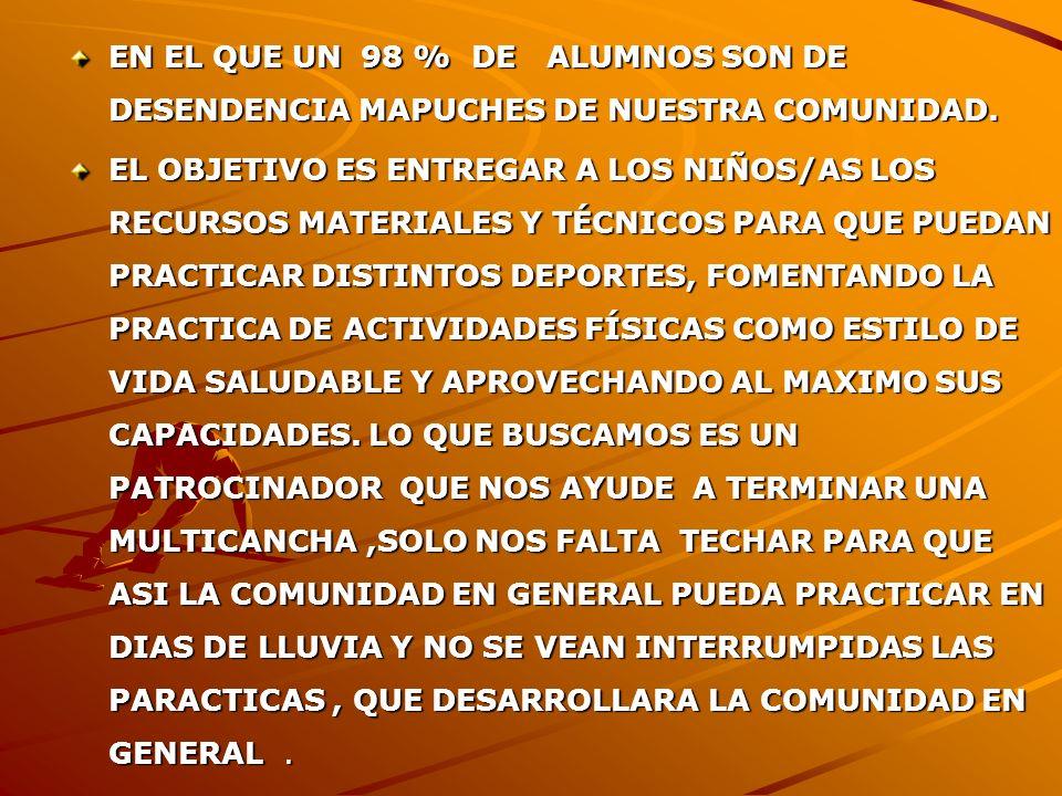 EN EL QUE UN 98 % DE ALUMNOS SON DE DESENDENCIA MAPUCHES DE NUESTRA COMUNIDAD.