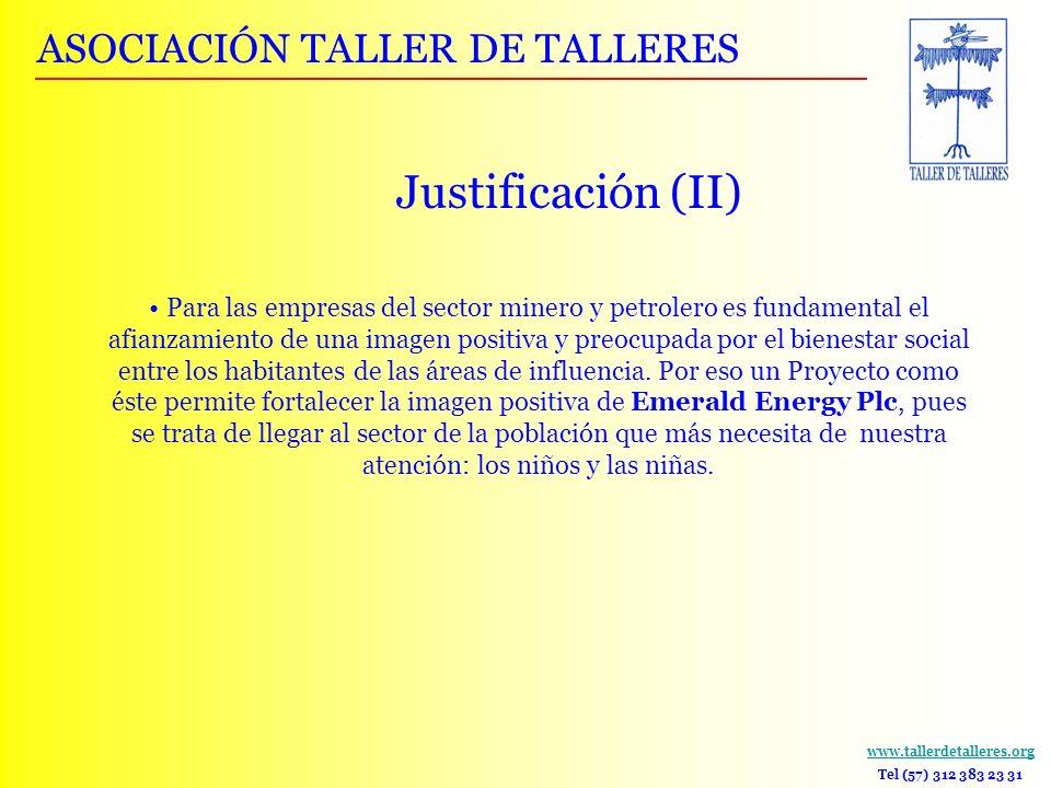 Justificación (II) ASOCIACIÓN TALLER DE TALLERES