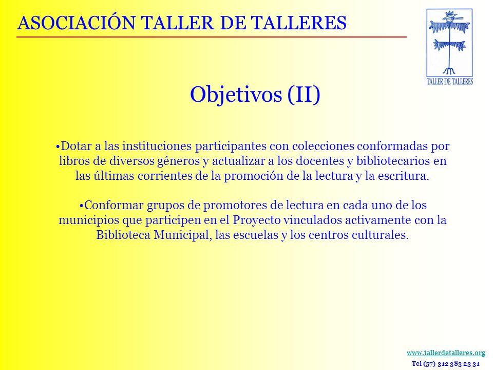 Objetivos (II) ASOCIACIÓN TALLER DE TALLERES