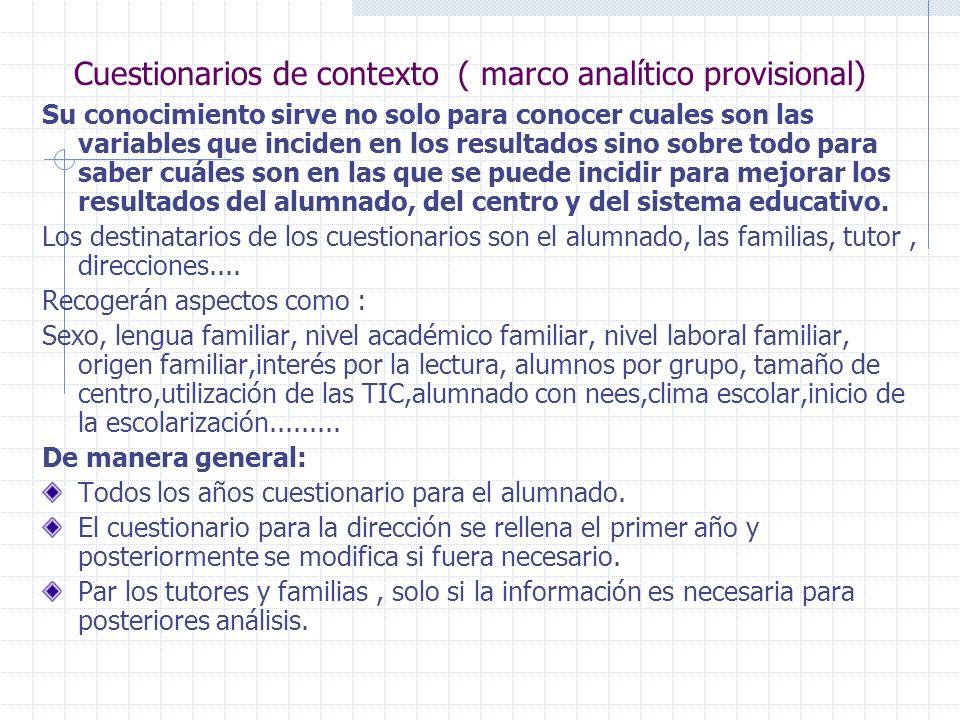Cuestionarios de contexto ( marco analítico provisional)