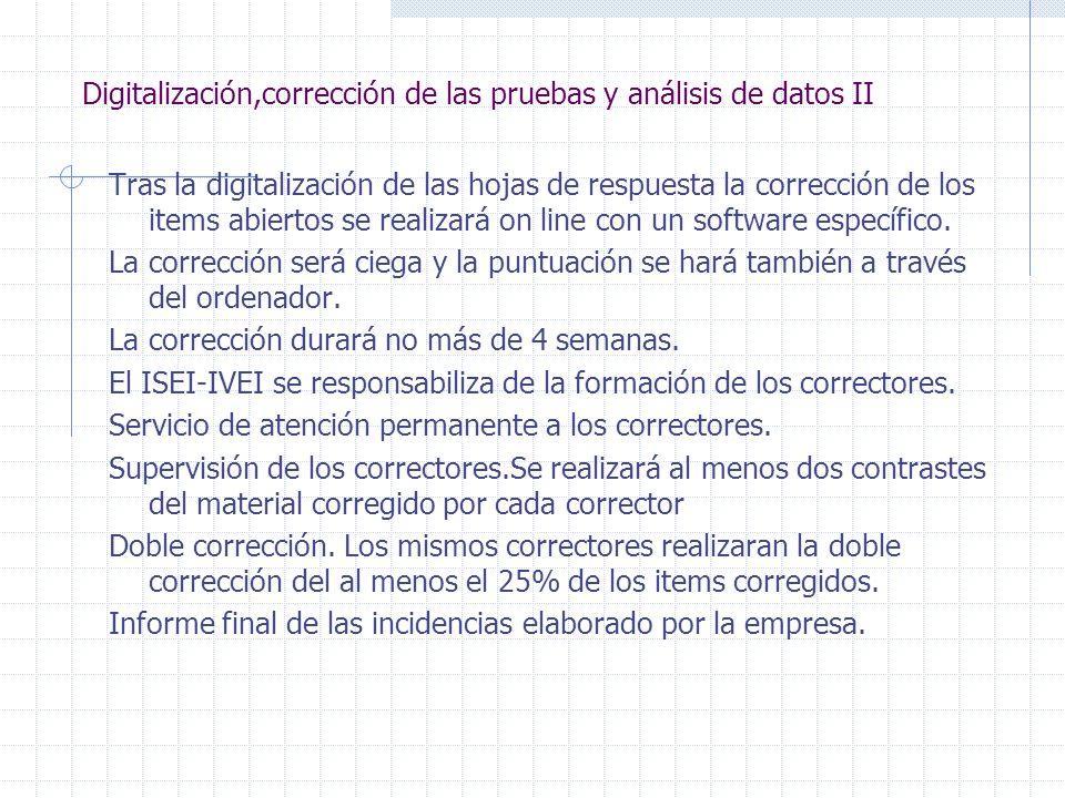 Digitalización,corrección de las pruebas y análisis de datos II