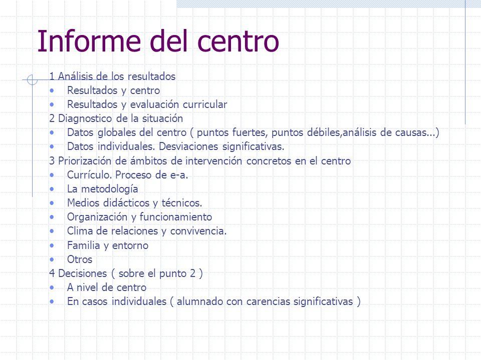Informe del centro 1 Análisis de los resultados Resultados y centro