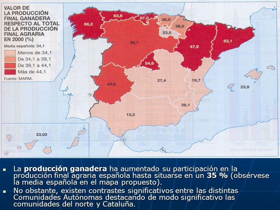 La producción ganadera ha aumentado su participación en la producción final agraria española hasta situarse en un 35 % (obsérvese la media española en el mapa propuesto).