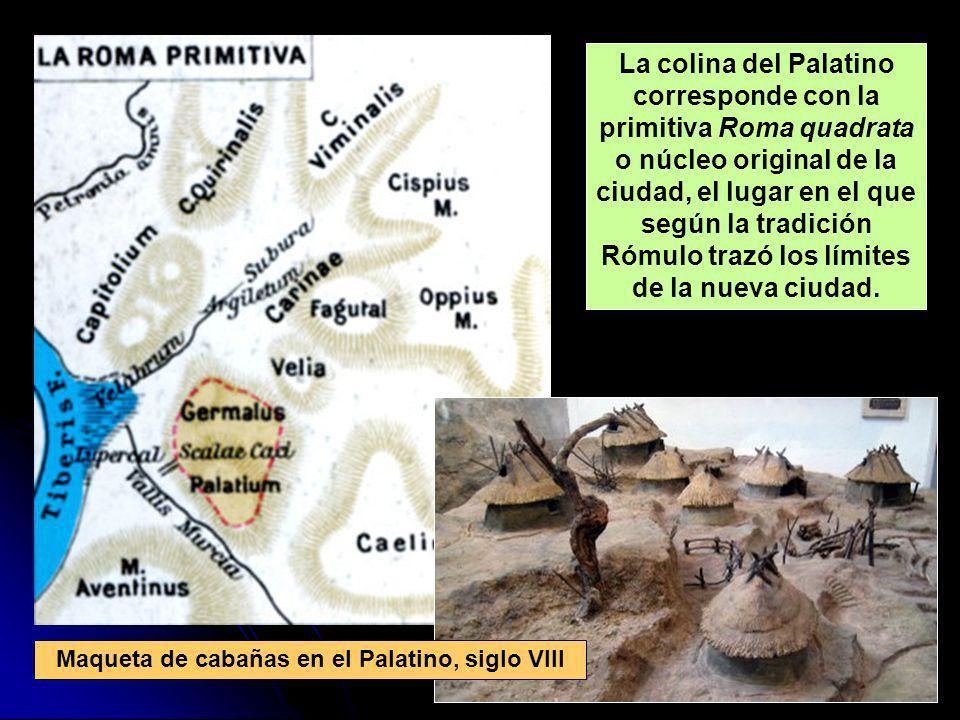 Maqueta de cabañas en el Palatino, siglo VIII