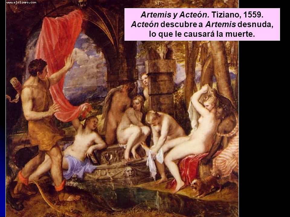 Artemis y Acteón. Tiziano, 1559