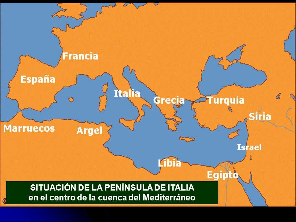 SITUACIÓN DE LA PENÍNSULA DE ITALIA en el centro de la cuenca del Mediterráneo