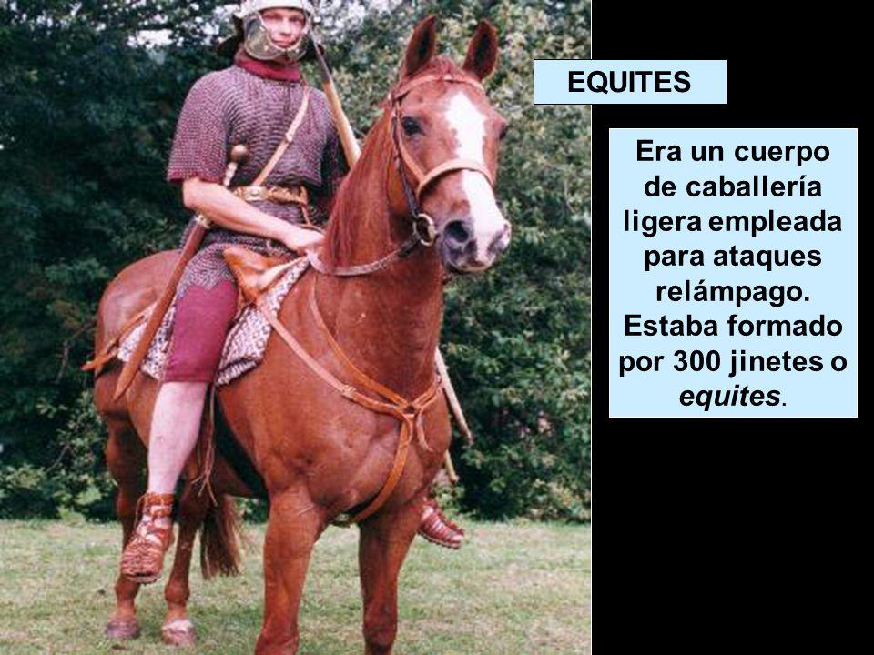 EQUITES Era un cuerpo de caballería ligera empleada para ataques relámpago.
