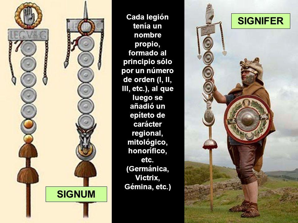 Cada legión tenía un nombre propio, formado al principio sólo por un número de orden (I, II, III, etc.), al que luego se añadió un epíteto de carácter regional, mitológico, honorífico, etc. (Germánica, Victrix, Gémina, etc.)