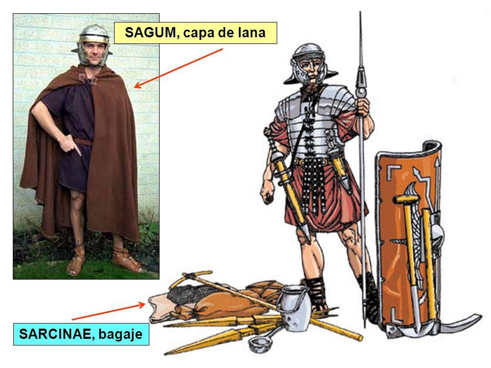 SAGUM, capa de lana SARCINAE, bagaje