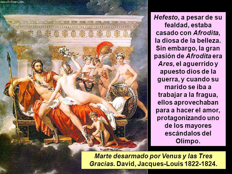 Hefesto, a pesar de su fealdad, estaba casado con Afrodita, la diosa de la belleza. Sin embargo, la gran pasión de Afrodita era Ares, el aguerrido y apuesto dios de la guerra, y cuando su marido se iba a trabajar a la fragua, ellos aprovechaban para a hacer el amor, protagonizando uno de los mayores escándalos del Olimpo.