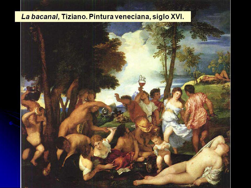 La bacanal, Tiziano. Pintura veneciana, siglo XVI.