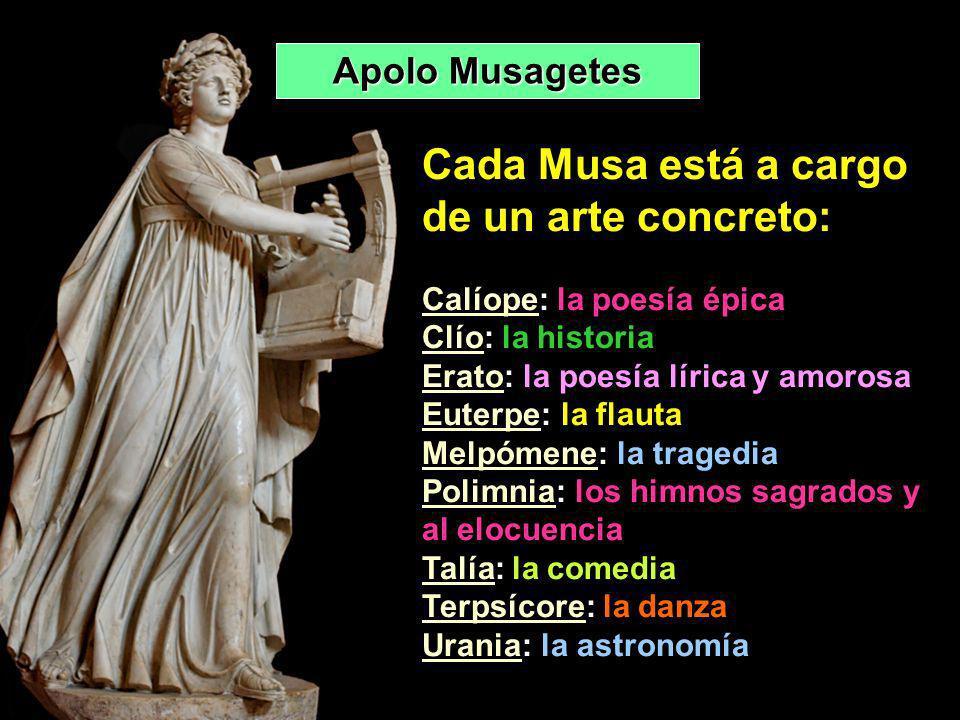 Cada Musa está a cargo de un arte concreto: