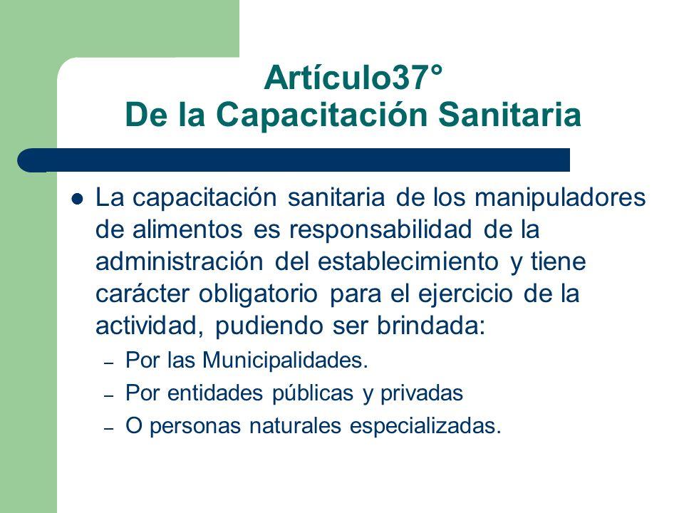 Artículo37° De la Capacitación Sanitaria