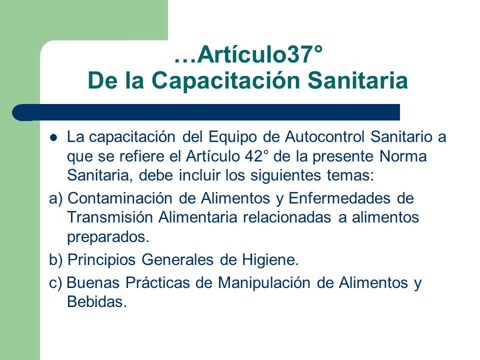 …Artículo37° De la Capacitación Sanitaria