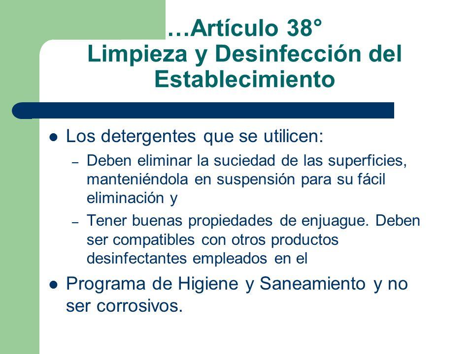 …Artículo 38° Limpieza y Desinfección del Establecimiento