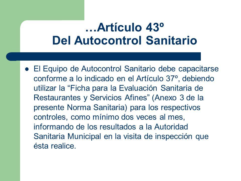 …Artículo 43º Del Autocontrol Sanitario