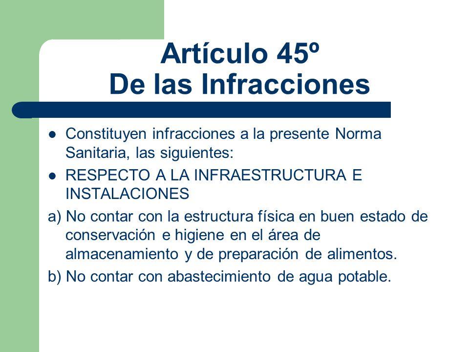 Artículo 45º De las Infracciones